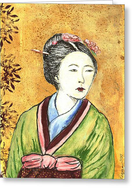 Japanese Woman Greeting Card by Pegeen  Shean