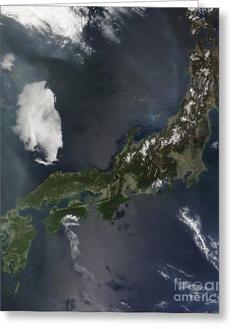 Japans Main Island, Honshu Greeting Card by Stocktrek Images