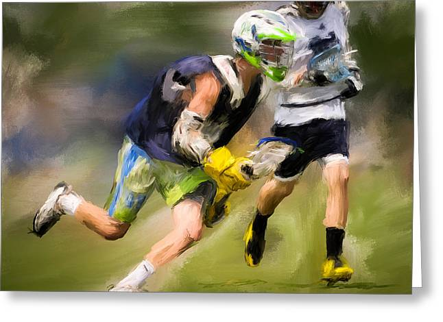 Jaxx Lacrosse 1 Greeting Card by Scott Melby
