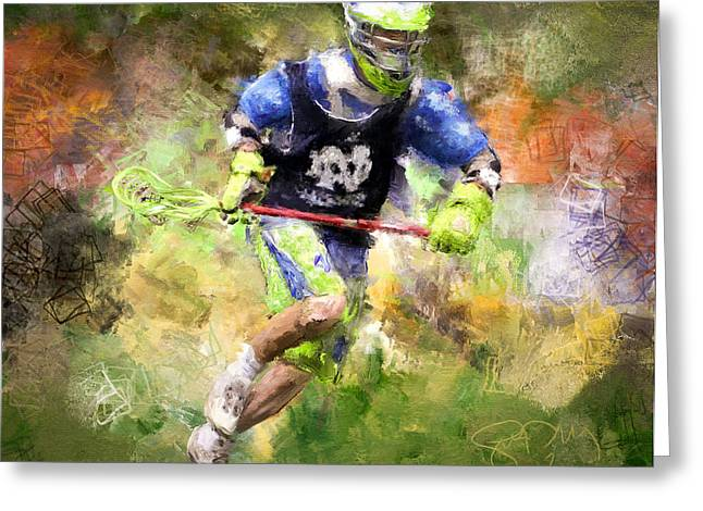 Jaxx Lacrosse 2 Greeting Card by Scott Melby