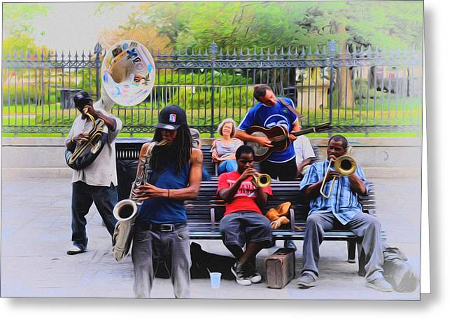 Jazz Band At Jackson Square Greeting Card by Bill Cannon