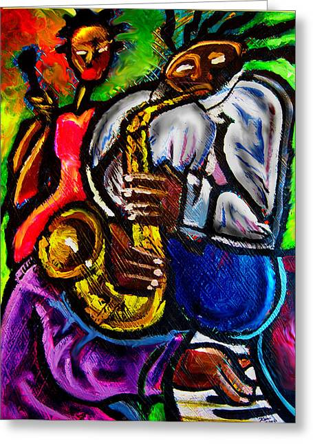 Jazz Groove Greeting Card by Kevin McDowell