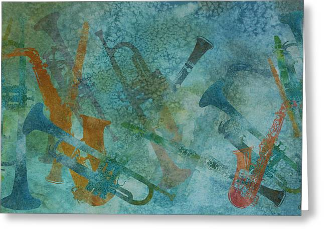 Jazz Improvisation One Greeting Card by Jenny Armitage