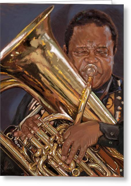 Jazz Legend- Howard Johnson Greeting Card by Larry Seiler