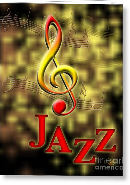 Jazz Music Poster Greeting Card by Linda Seacord
