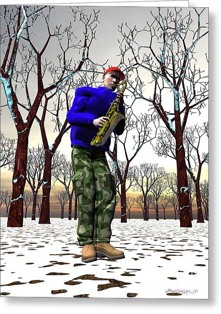 Jazzmas In The Park 3 Greeting Card by Walter Oliver Neal