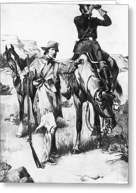 J.c. Fremont And His Guide, Kit Carson Greeting Card by Photo Researchers