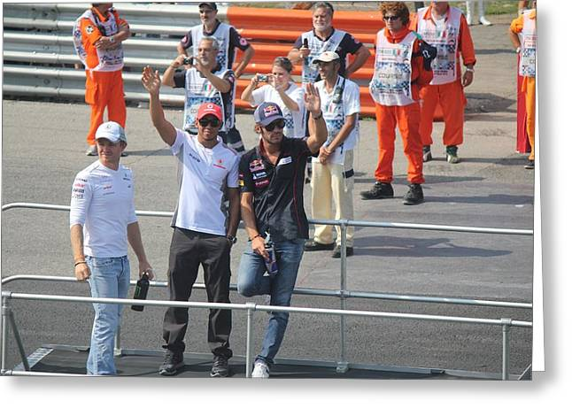 Jean-eric Vergne Lewis Hamilton And Nico Rosberg Greeting Card by David Grant