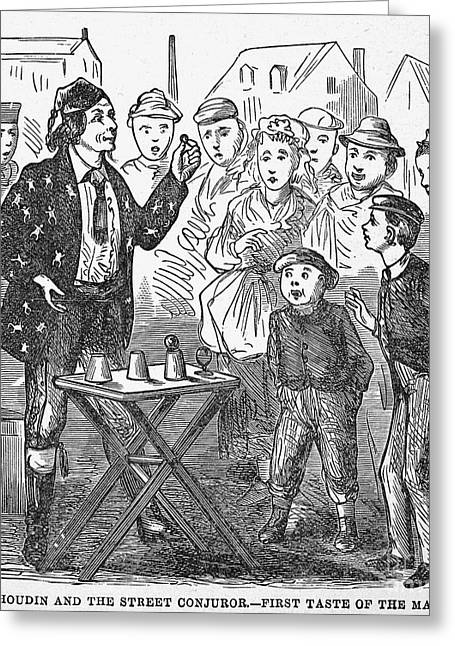 Jean Eugene Robert Houdin (1805-1871). French Magician. Wood Engraving, C1880, From An American Edition Of Houdins Autobiography, Depicting His First Childhood Encounter With A Street Magician Greeting Card by Granger