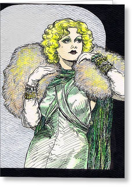 Jean Harlow Greeting Card by Mel Thompson
