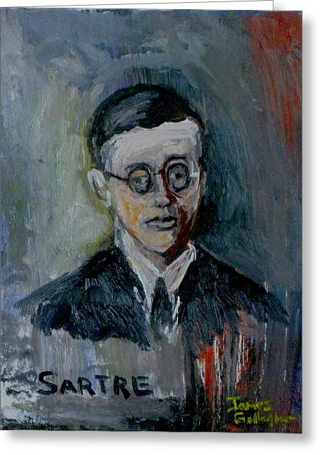 Jean Paul Sartre Greeting Card by James Gallagher