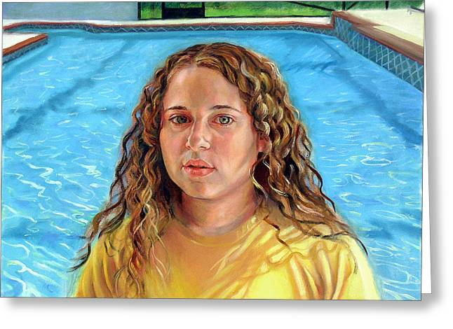 Greeting Card featuring the painting Jeannie At The Pool by Nancy Tilles
