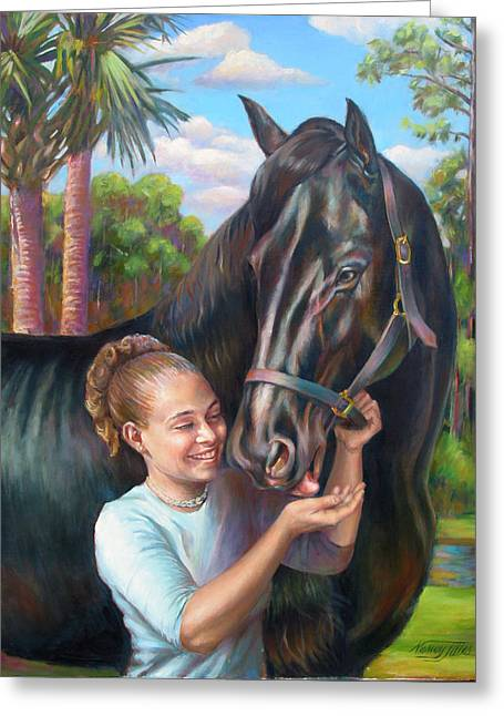 Greeting Card featuring the painting Jeannie With Seiba's Gentle Touch by Nancy Tilles