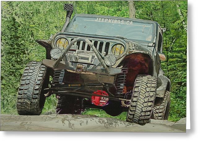Jeep On The Rocks Greeting Card by Jeff Taylor