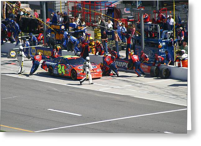 Jeff Gordon Pit Crew In Action Greeting Card