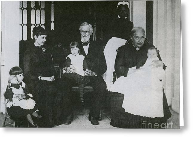 Jefferson Davis With Family Greeting Card by Photo Researchers