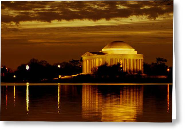 Jefferson Memorial - Panoramic Greeting Card by David Hahn