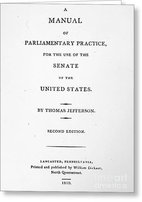 Jefferson: Title Page, 1810 Greeting Card by Granger