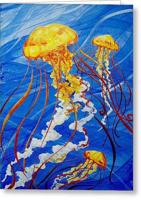Greeting Card featuring the painting Jellyfish by John Gibbs