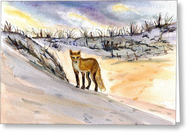 Greeting Card featuring the painting Jersey Shore Fox by Clara Sue Beym