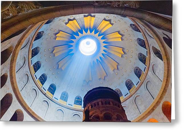 Jerusalem The Church Of The Holy Sepulcher Dome. Greeting Card