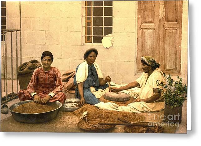 Jerusalem Women Grinding Corn 1895 Greeting Card by Padre Art