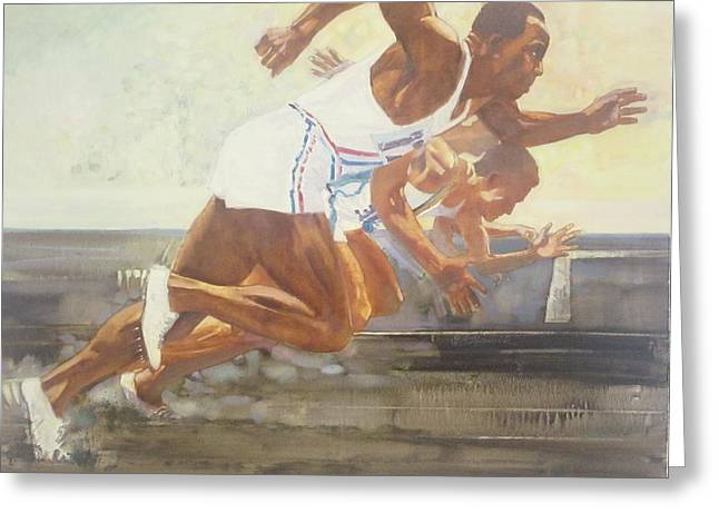Jesse Owens 1936 Olympics Greeting Card by Chuck Hamrick