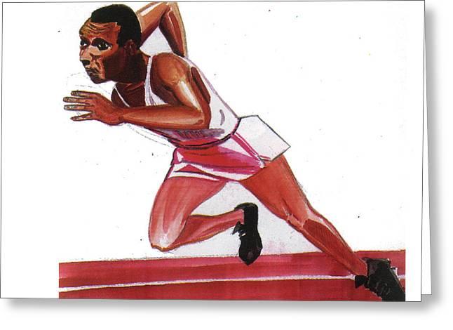 Jesse Owens Greeting Card by Emmanuel Baliyanga
