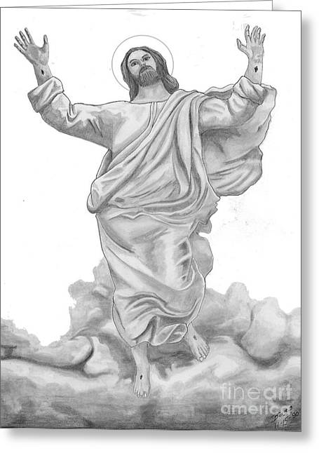 Jesus Approaches The Gates Of Heaven Greeting Card by Calvert Koerber