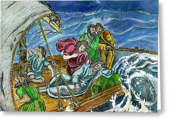Jesus Asleep In The Storm Greeting Card by Norma Boeckler