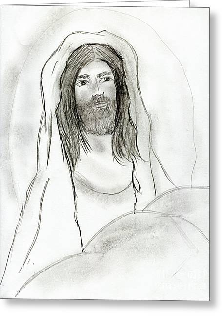 Jesus In Cave Greeting Card by Sonya Chalmers