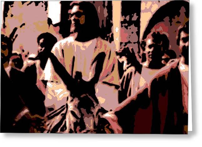 Jesus Rides Into Jerusalem Greeting Card by George Pedro