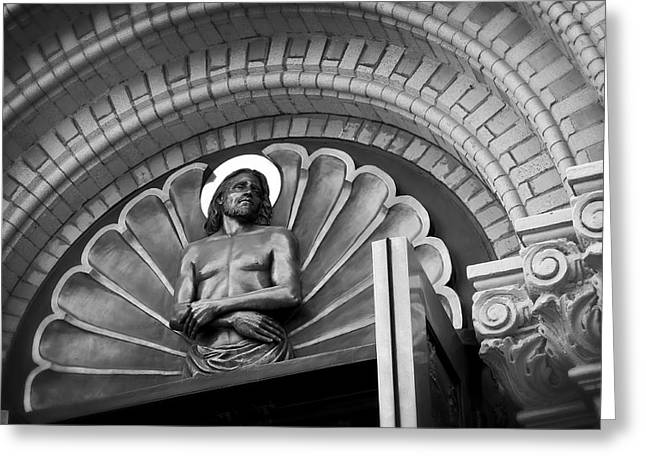 Jesus  Sculpture Above Cathedral Door Lintel Greeting Card by Daniel Hagerman