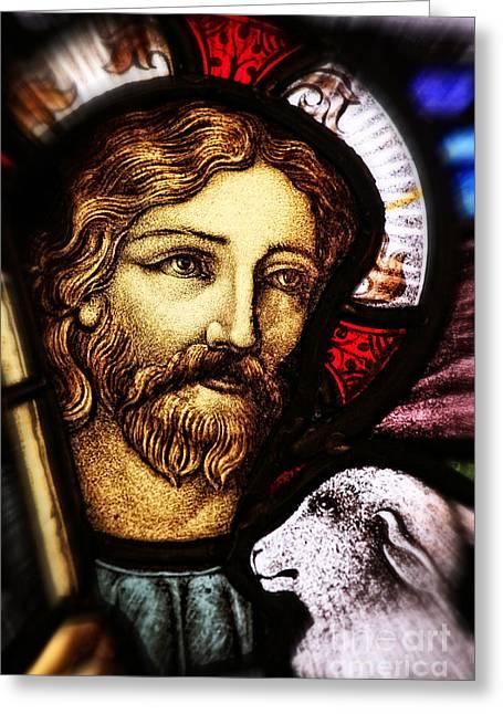 Jesus The Good Shepard Greeting Card by Verena Matthew