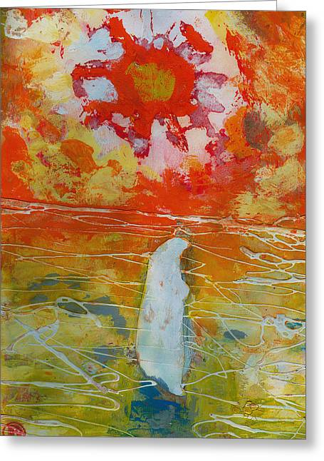 Jesus Walking On The Water Comtemplating Greeting Card by Daniel Bonnell