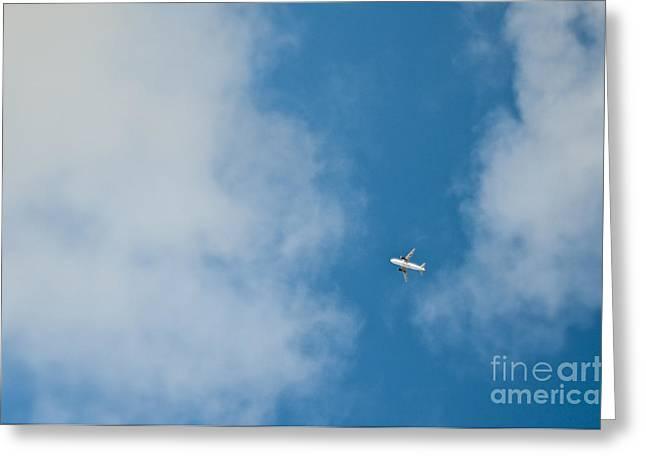 Jet Airplane In Flight Greeting Card by Eddy Joaquim