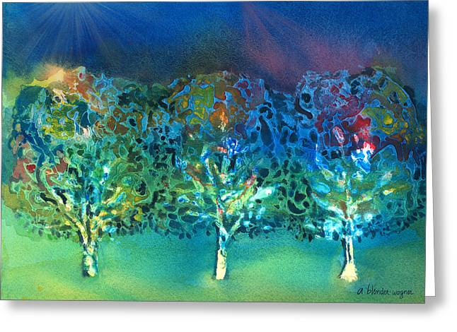 Greeting Card featuring the mixed media Jeweled Trees by Arline Wagner