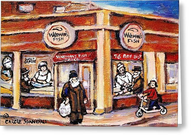 Jewish Montreal Vintage City Scenes Fish Market On Roy Street Greeting Card by Carole Spandau