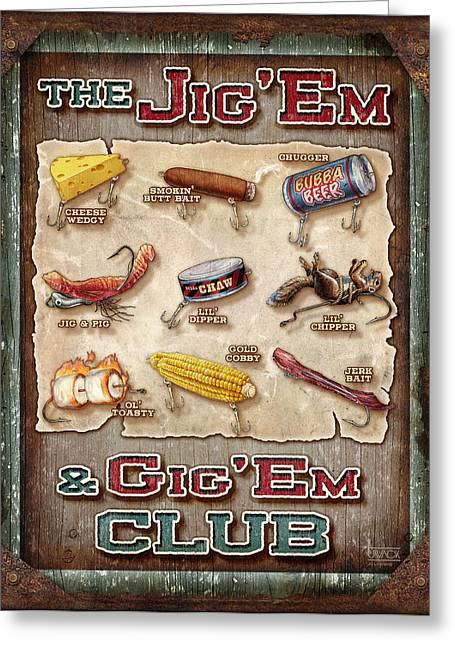 Jig' Em Gig' Em Greeting Card by JQ Licensing