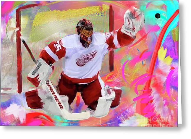 Jimmy Howard Greeting Card by Donald Pavlica