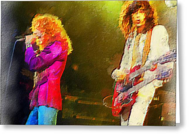 Jimmy Page And Robert Plant Greeting Card by Galeria Zullian  Trompiz