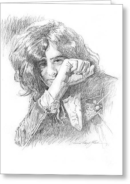 Jimmy Page In Person Greeting Card by David Lloyd Glover