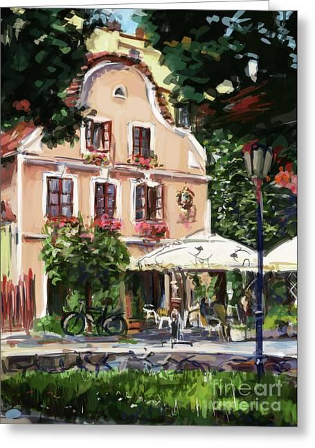 Jindrichuv Hradec Restaurant Greeting Card by Ondrej Soukup