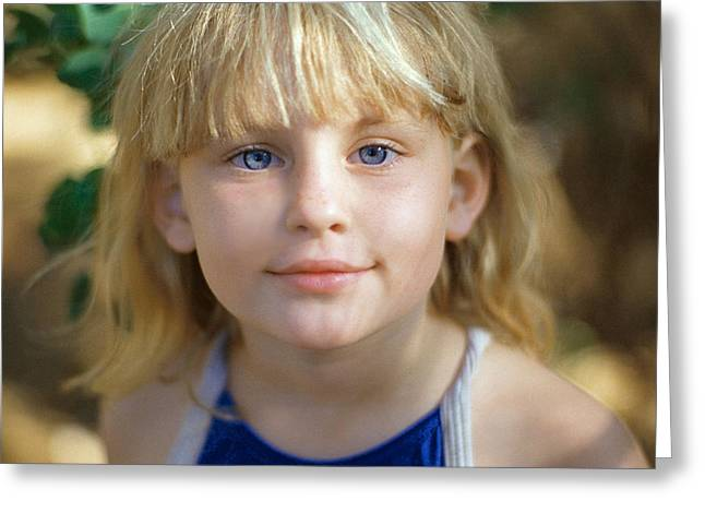Portrait Of A Young Girl Greeting Card by Mark Greenberg