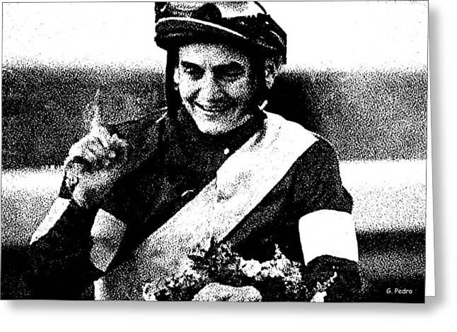 Jockey Brian Hernandez  Greeting Card by George Pedro