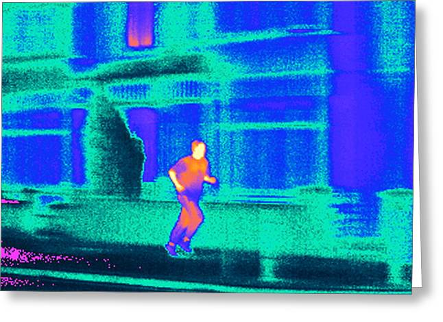 Jogging, Thermogram Greeting Card by Tony Mcconnell
