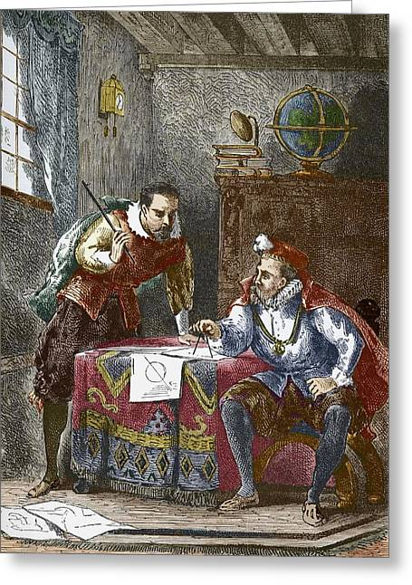 Johannes Kepler And Tycho Brahe Greeting Card by Sheila Terry