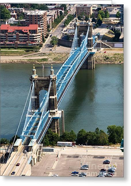 John A. Roebling Bridge Cincinnati Ohio Greeting Card