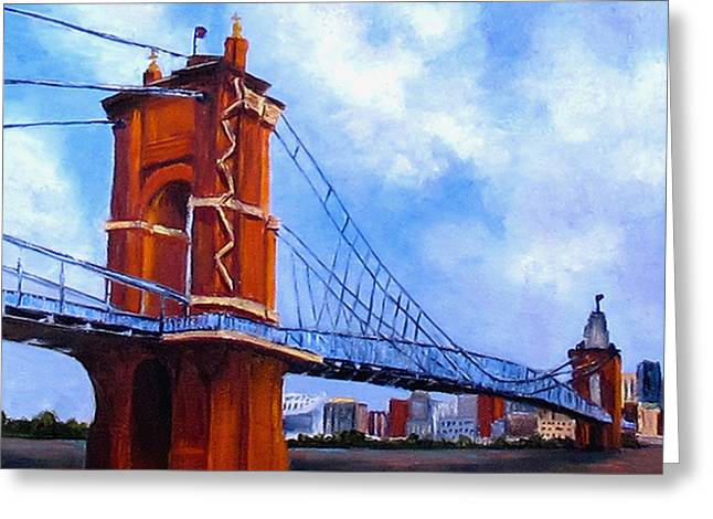 John A. Roebling Bridge Greeting Card by Suzzanna Frank