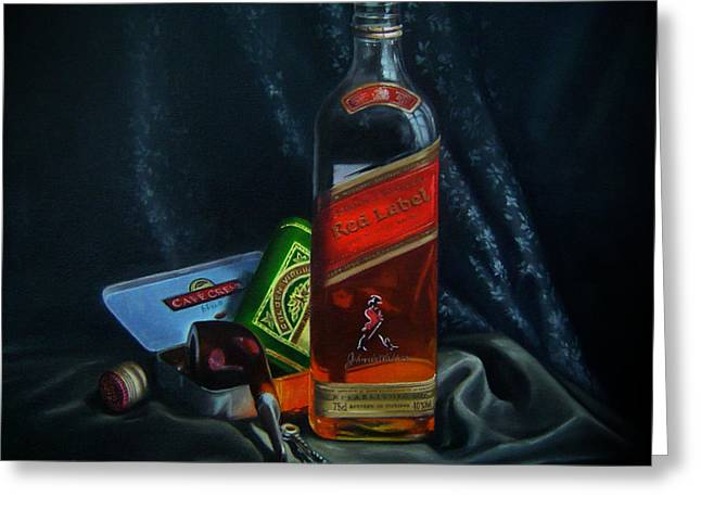 Johnnie Walker  Greeting Card by Epifanio jr Mendoza